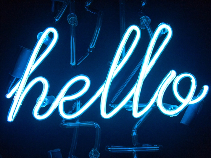 Neon sign saying hello