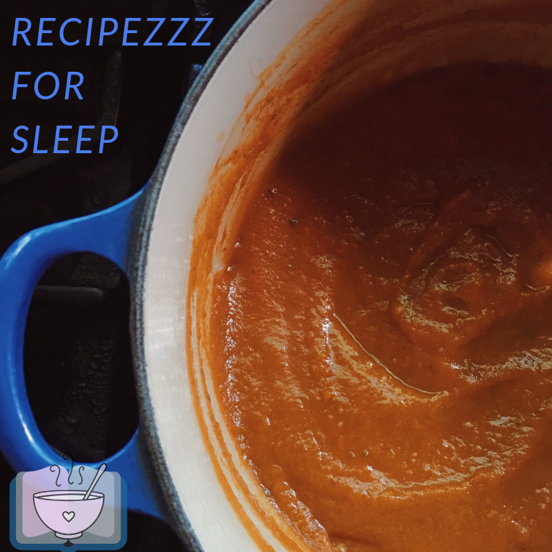 Blue pot with carrot soup. Text reads RecipeZZZ for Sleep.